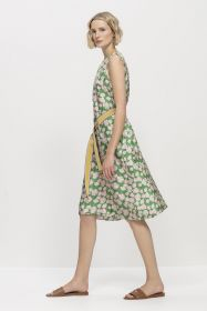 Groen kleed met roze bladerenprint Luisa Cerano