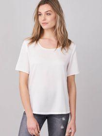 Ecru zijde bloes met ronde hals Repeat