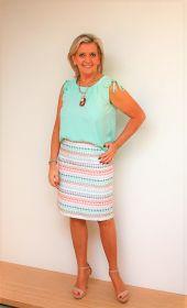 Roze en groen gestreepte rok Riani