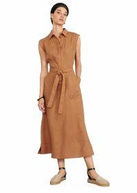 Bruin lang kleed met riem in taille Riani
