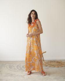 Beige lang kleed met oranje bladerenprint Heart Mind
