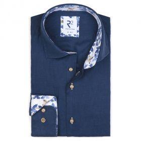 Jeansblauw linnen hemd met bloemenprint R2 Amsterdam