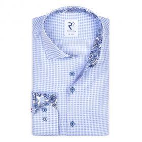 Licbtblauw 'geruit' hemd met print in kraag en op manchette R2 Amsterdam