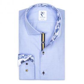 Lichtblauw hemd met blauwe bloemenprint R2 Amsterdam