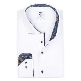 Wit hemd met bloemenprint op kraag en manchette R2 Amsterdam