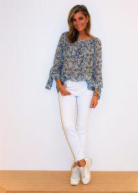 Witte broek met uitgerafelde onderkant model Sinty Raffaello Rossi