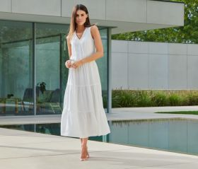 Wit lang kleed met banden Due Amanti