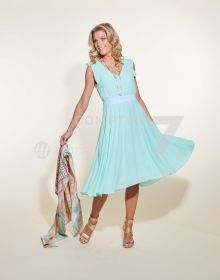 Turquoise V-hals kleed Due Amanti