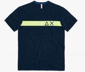 Marine T-shirt met gele streep Sun 68