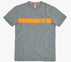 Grijze T-shirt met oranje streep Sun 68