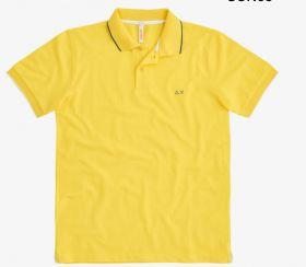 Gele polo met witte boord aan mouw Sun 68