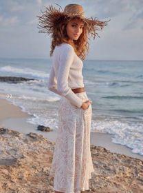 Witte lange rok met beige print Hemisphere