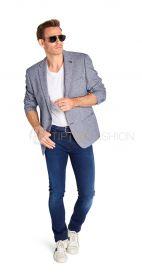 Blauw wit gespikkelde blazer Roy Robson