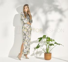 Beige lang kleed met groen, geel witte bloemenprint Rosso 35