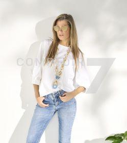 Witte bloes met speciale mouw Rosso 35