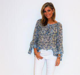 Witte bloes met lichtblauwe en kaki print Rosso 35