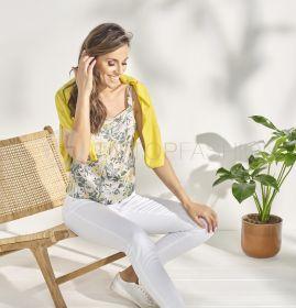 Beige top met groen gele bloemenprint Rosso 35