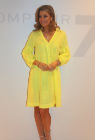 Geel linnen kleed met pofmouw Rosso 35