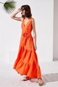 Oranje lang linnen kleed Rosso 35