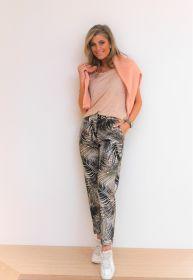 Beige broek met palmboomprint model Stella Cambio