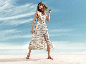 Wit met beige gevlekt lang kleed Senso