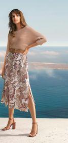 Beige lange rok met cashmereprint en knopen vooraan Senso