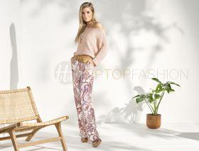 Ecru broek met beige paarse cashmereprint Senso