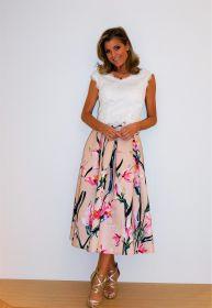Roze gebloemde rok Linea Raffaelli