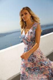 Roze lang kleed met frullen en lichtblauwe print Linea Raffaelli