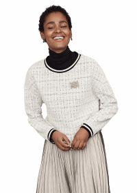 Witte sweater met boord aan hals en mouwen Riani