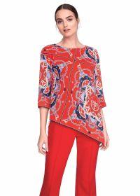 Rode schuine bloes met blauwe print Riani