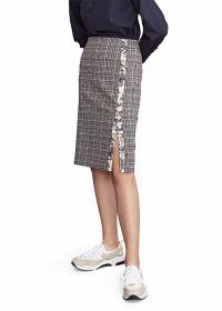 Marine  geruite rok met streep met jungleprint op zijkant Riani
