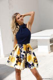 Blauw kleed met gele gebloemde 'rok' Linea Raffaelli