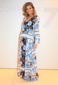 Lang kleed met blauwe en bruine bloemen D.exterior