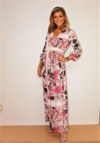 Lang kleed met roze en grijze bloemen D.exterior