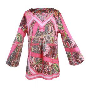 Roze bloes met print en schuine mouw Mucho Gusto