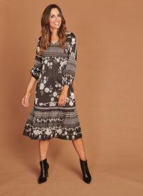 Zwart kleed midilengte met grijze print Mucho Gusto