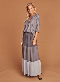 Lange rok met banden in verschillende grijstinten Mucho Gusto