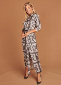 Grijs lang kleed met print Mucho Gusto