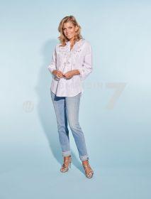 Blauwe jeans met boord onderaan Cambio