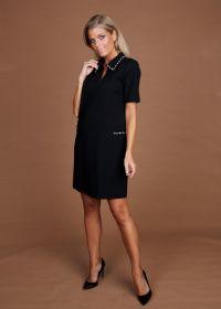 Zwart V-hals kleed met parels aan kraag en zak Twinset