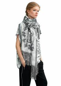 Witte sjaal met zwarte print Riani