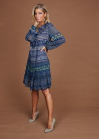 Blauw kleed met print Riani