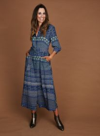 Blauw lang hemdkleed met print Riani