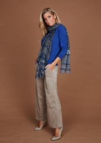 Blauwe sjaal met print Riani