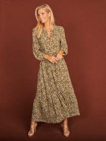 Groen, lang V-hals kleed met print Luisa Cerano