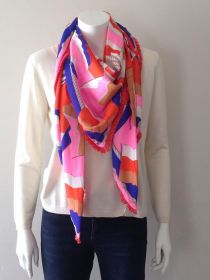 Oranje, blauwe, roze sjaal Mucho Gusto