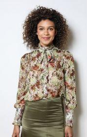 Groen bruine bloes met bloemenprint en strik Dream Catcher