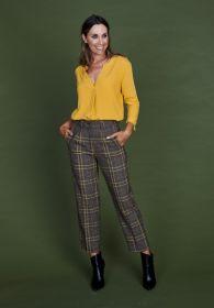 Bruine broek met oker ruit model Marcie Brax