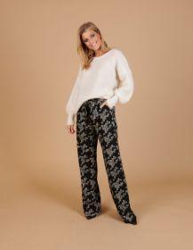 Zwarte losse broek met grijze grafische print Caroline Biss